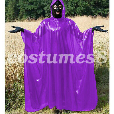 100% Latex Rubber Full-Body Long Coat Hooded Rain Catsuit Fashion Size S-XXL 5