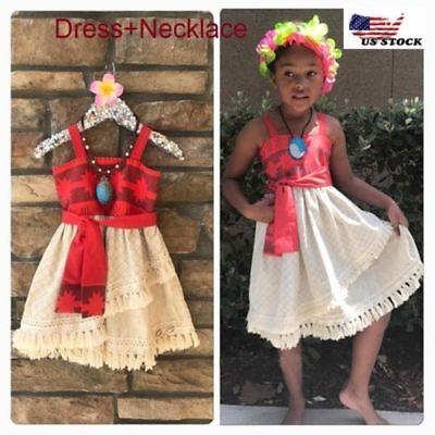 Lovely Girls Kids Moana Sleeveless Party Holiday Birthday Dress B4 Costumes, Reenactment, Theater