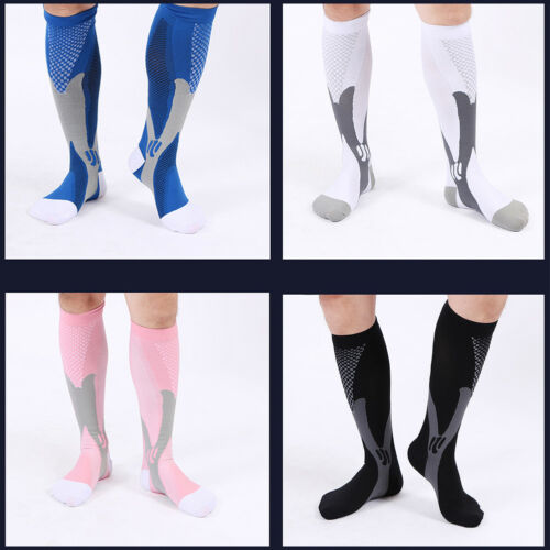 2 Pairs 30-40 mmhg Mens Over Knee High Compression Socks Running Long Scokings 2