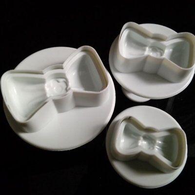 3X Bow-shaped Plunger Cutter Sugar-craft Fondant Cake Decoration DIY Tool
