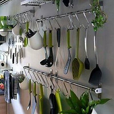 Wall Mount Rail 10 S Hooks Set Utensil Pot Pan Lid Holder Rack Kitchen Organizer 5