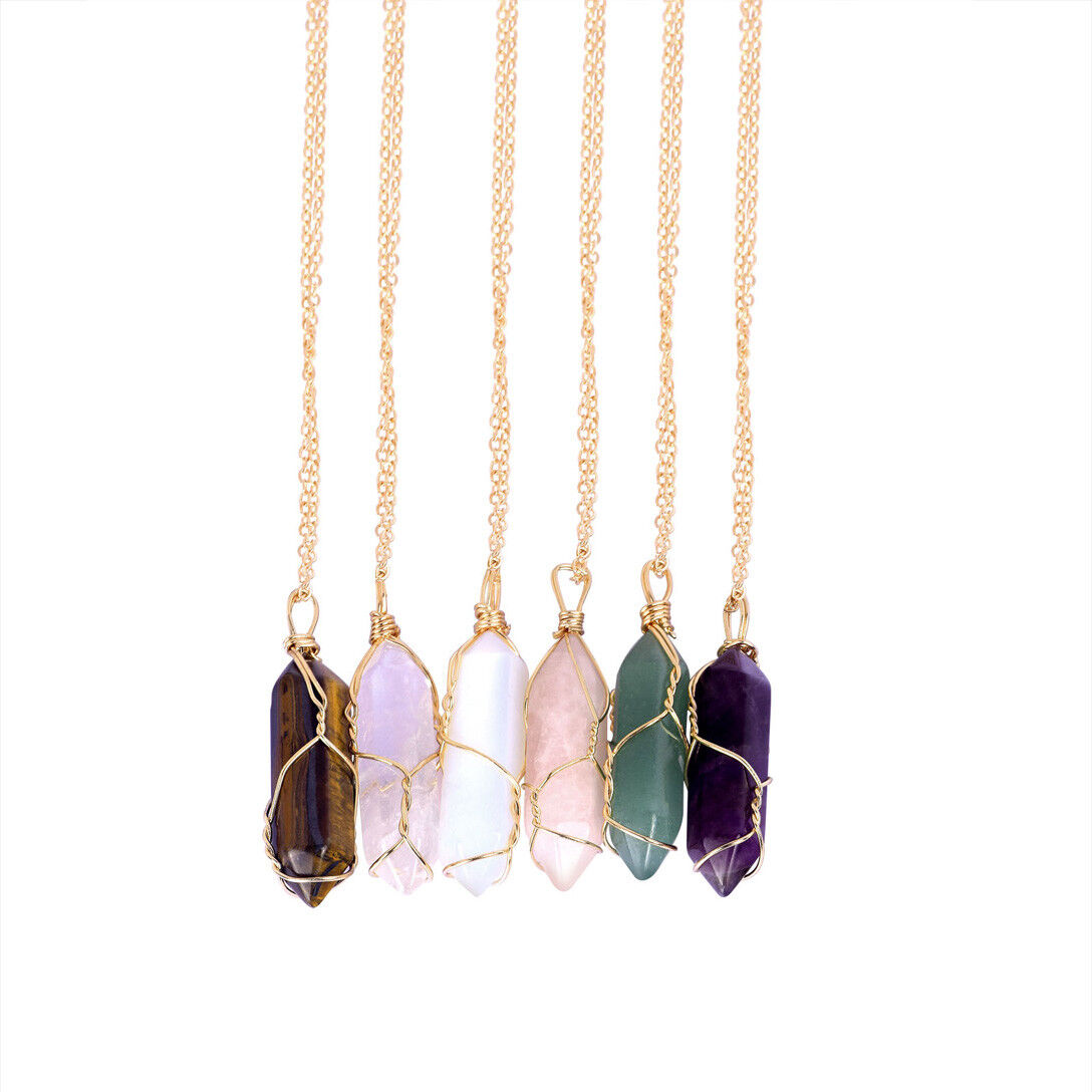Natural Gemstone Necklace Chakra Stone Pendant Energy Healing Crystal with Chain 5