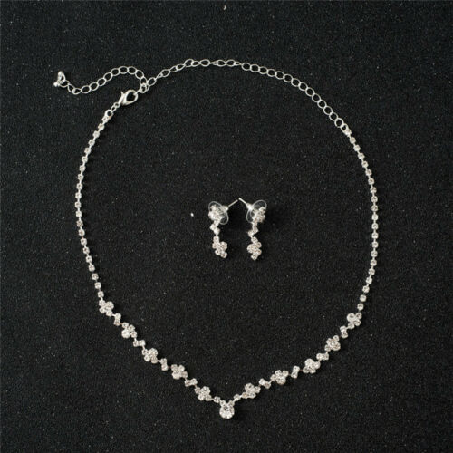 Bridesmaid Crystal Necklace Earrings Set Wedding Bridal Jewelry Jewellery FO 2