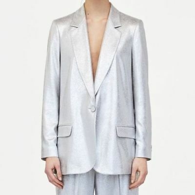 NEW ZARA SS18 Silver Metallic Blazer Ref 2395711 Size S
