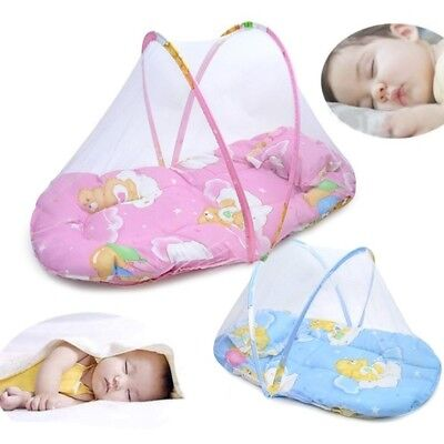 US Portable Foldable Baby Kids Infant Bed Dot Zipper Mosquito Net Tent Crib 2