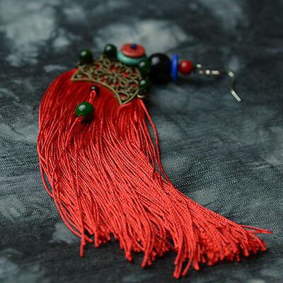 Red Tassel & Gold Plated Fan Shape Earring