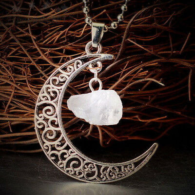 Natural Quartz Crystal Pendant Chakra Healing Gemstone Moon Necklace Jewelry 6