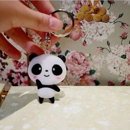 Cute Silicone Cartoon Panda Keychain Keyring Bag Kawaii Pendant Key Ring Chain 6