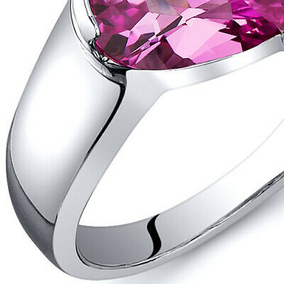 Artistic 1.75 cts Pink Sapphire Ring Sterling Silver Sizes 5 to 9