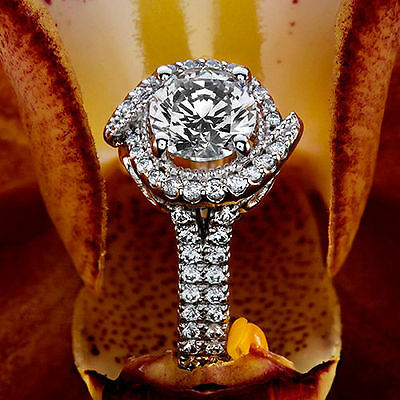 1.15 Ct Round Cut Natural Diamond Halo Engagement Ring 14K White Gold 4