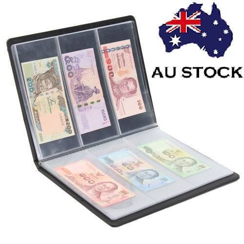 60 Pockets Soft Leather Notes Album Banknote Paper Money Collection Stamps Book 4