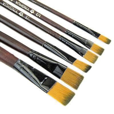 6pcs SHORT FLAT .ART BRUSH SET FINE-THICK Small-Large/Oil/Acrylic Paint/Bristle