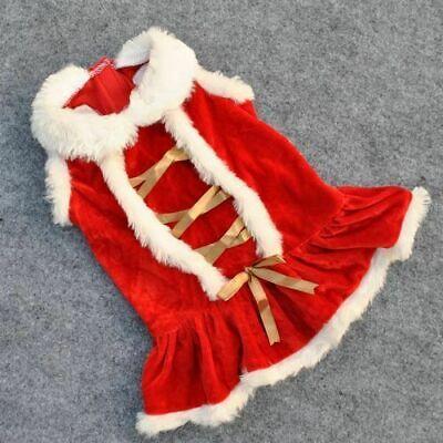 Cute Dog Puppy Christmas Santa Warm Costumes Coat Clothes Pet Apparel Shirt US 3
