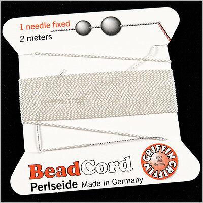 Fil de soie 100% naturelle pour collier de perles 2m blanc + aiguille d'enfilage 2