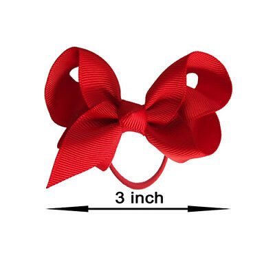 """3"""" Bow Hair inch knot Clips Girls Baby Kids Elastic Bobbles School Quality Bows 2"""