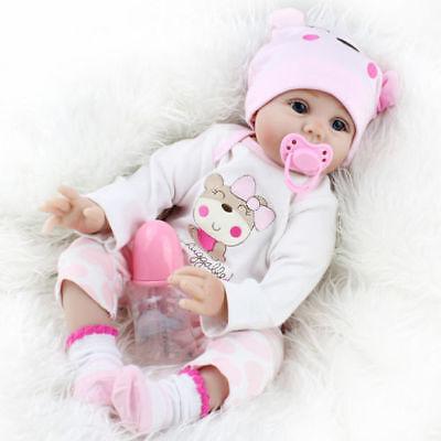 22''Lifelike Baby Girl doll Handmade Silicone Vinyl Reborn Newborn Dolls+Clothes 2