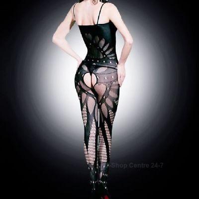 Black Classy Fishnet Open Crotch Bodystocking Bodysuit Lingerie Crotchless 4