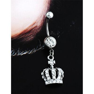 Crown Charm Rhinestone Body Piercing Jewelry Belly Button Ring Navel Jewelry ZY
