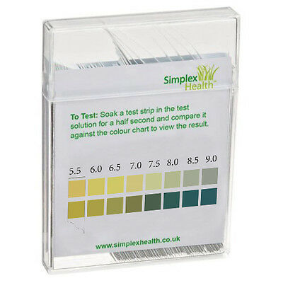 pH Test Strips Range 5.5-9.0 (100 Strips) by Simplex Health   Alkaline Water 2