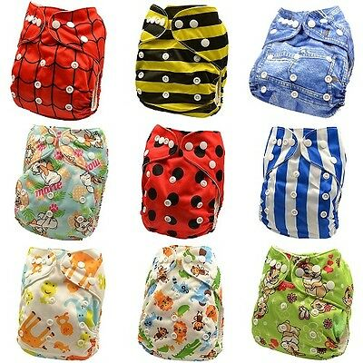 10 x Reusable Modern Cloth Nappies & Inserts All Size Diapers Print Bulk sales 6