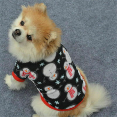 Cute Dog Puppy Christmas Santa Warm Costumes Coat Clothes Pet Apparel Shirt US 8