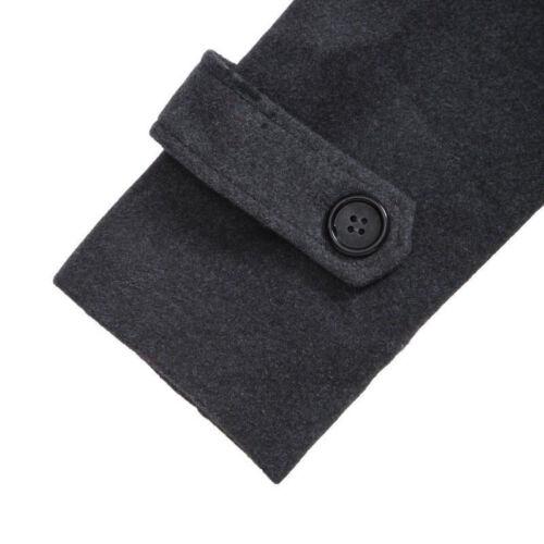 Mens Stylish Trench Coat Winter Warm Jacket Double Breasted Overcoat Windbreaker 9