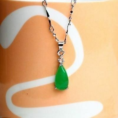 100% Natural Hand-carved Chinese green Jade Tear pendant Silver carving 3