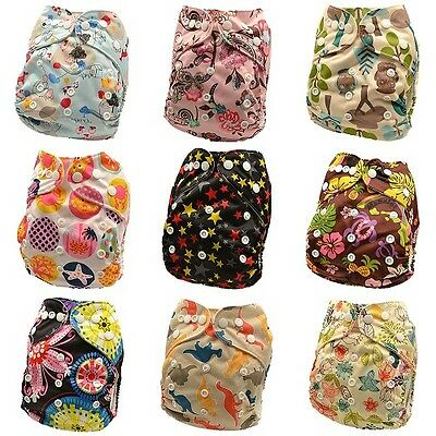 10 x Reusable Modern Cloth Nappies & Inserts All Size Diapers Print Bulk sales 9