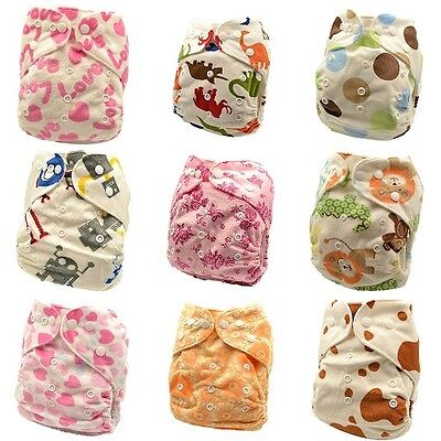 10 x Reusable Modern Cloth Nappies & Inserts All Size Diapers Print Bulk sales 5
