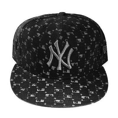 New Era Pittsburgh Pirates 5950 Black Fitted Hat Official MLB Logo All-Over Cap