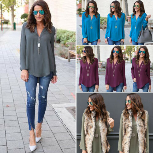 0f16547fb28 Womens Chiffon Long Sleeve Top Blouse Ladies OL Work Office Casual T Shirts  Tops 5 5 of 10 ...