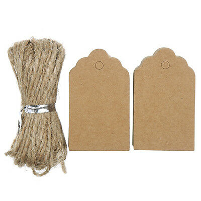 100pcs Papier Kraft Étiquettes avec Ficelle de Jute Diy Artisanats Prix Baggage