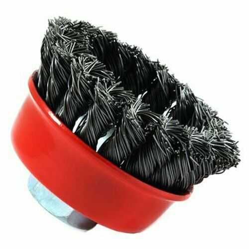 Forney 72757 Wire Cup Brush, Knotted With 5/8-Inch-11 Threaded Arbor, 2-3/4-Inch 11