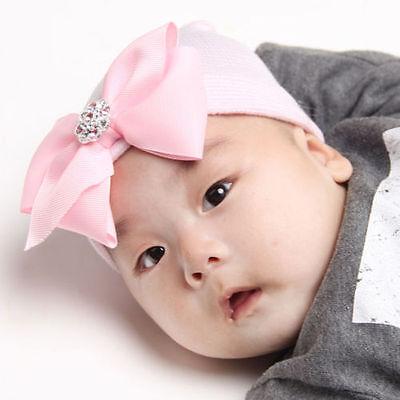 b1f17a2bad7 ... Baby Newborn Girl Infant Toddler Bowknot Beanie Cute Hat Hospital Cap  Comfy OJ 2