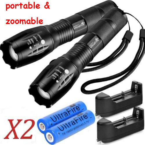 2X Tactical Ultrafire Flashlight T6 Bright 5 Modes Zoom Focus &Charger Battery