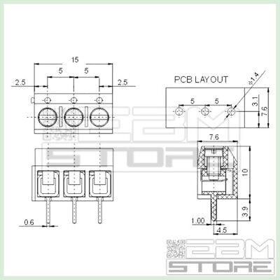 AZ18 ART 50 pz morsetti 3 poli H=10 Morsettiera PCB circuito stampato