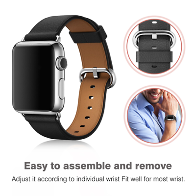 Leather Band Bracelet Strap For Apple Watch Series 4 3 2 1 38mm/40mm/42mm/44mm 3