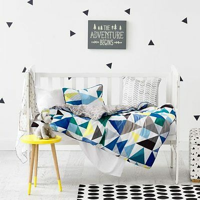 ADAIRS KIDS Concord triangles geometric COT (Jnr Bed) QUILT COVER SET BNIP navy