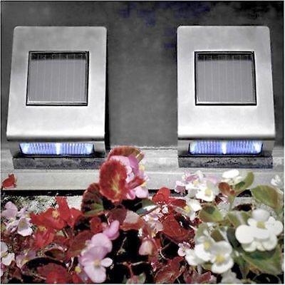 2x Large Modern Stainless Steel Solar Powered Security Lights Garden Wall Lights