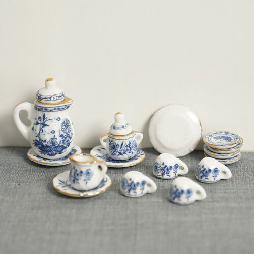 Tea Set Blue /& White 35pc ceramic dollhouse miniature furniture 1//12 scale G8475