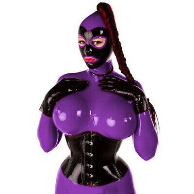 Unisex Latex Rubber Catsuit Rot&Schwarz 100% Gummi Bodysuit With Mask Cosplay 3