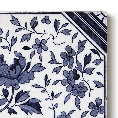 Antique Tile Victorian Aesthetic Japonesque Floral International Tile Delft Blue 4