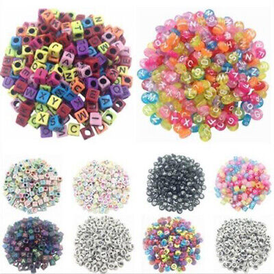 100Pcs Spacer Acrylic Beads Cube Alphabet Letter Bracelet Jewelry Making DIY HOT 2