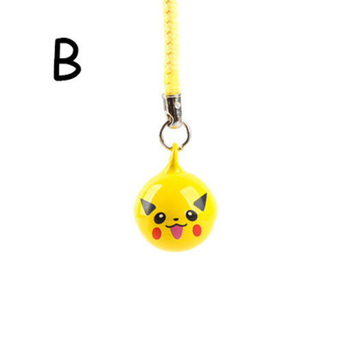 1pcs New Pikachu Pokemon Ball Cell Phone Charm Strap JINGLE BELLS Dangle Figures