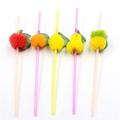 New 20/40X Paper Parasol Umbrella Fruit Tea Cocktail Drink Straws Party Decor*v*