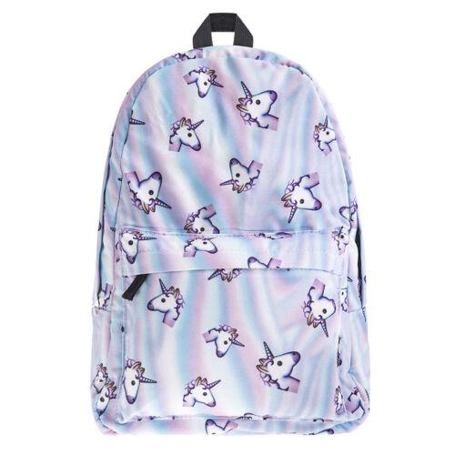 Mädchen Einhorn Print Multi-Color Rainbow Rucksack Schultasche Reise Backpack
