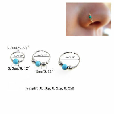 Unisex High Quality Thin Nose Ring Hoop Fake Body Piercing Jewellery Silver 8