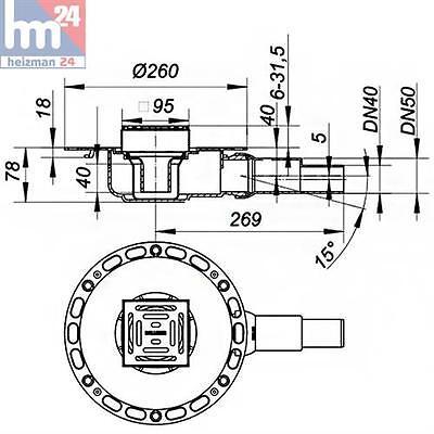 Dallmer Bodenablauf TistoPlan K 12 Ablauf seitlich DN 40//DN 50 120x120 mm 513090