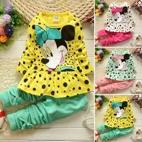 Kid Girl Clothes Mickey Minnie Sweatshirt Casual Hoodie Jumper Top Pants Outfits