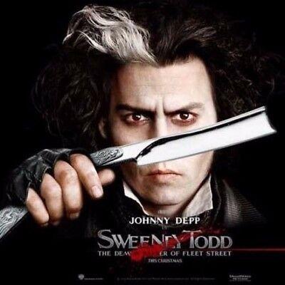2PC Sweeney Todd Straight Blade Barber Razor Pocket Knife Shaving Cut Throat SET 3